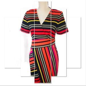 ‼️🔥NWT CATO MULTICOLORED FAUX WRAP DRESS!🔥💋